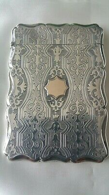 Stunning and Rare Antique Sterling Silver Card Case Nathaniel Mills1855