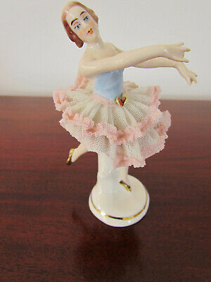 Antique Dresden Art Germany Porcelain Ballerina Figurine Young Lady