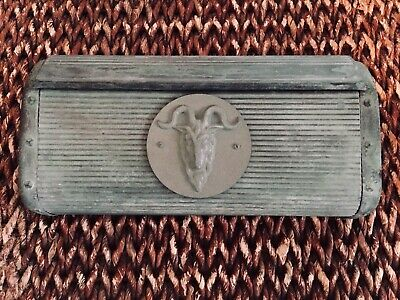 Antique Ornate Copper Hammered Striated Horned Ram Plaque Mailbox Wall Mount