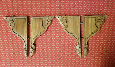Beautiful Set Of Four Antique French Carved Walnut Brackets / Corbels - C1900