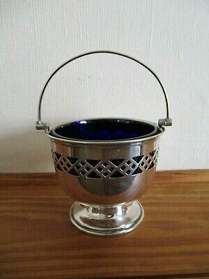 """Vintage """"Plato"""" Epns Silver Bowl With Blue Glass Inner"""