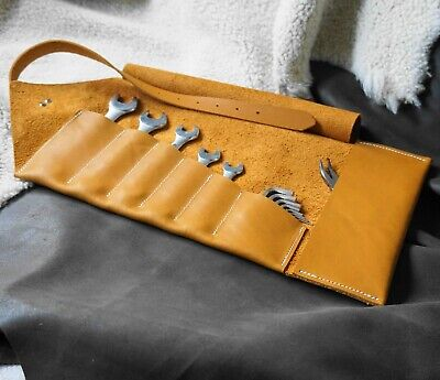 Leather tool roll for motorcycle tools in tan/sand 100% natural Leather