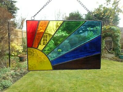 Stained Glass Sun Rainbow Spectrum Suncatcher or Wall Picture