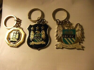 3 off MANCHESTER CITY FC CLUB CREST METAL KEYRING KEY RING KEYCHAIN
