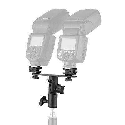 T-shaped Dual Flash Bracket Flash Speedlite Stand with 2 Cold Shoe Mounts O6E1