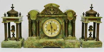 Antique French 8 Day Striking Green Onyx & Bronze Architectural Mantel Clock Set