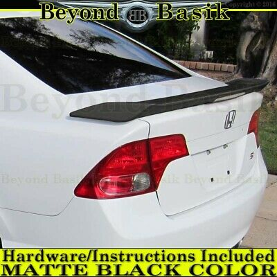 2006-2011 Honda Civic Si 4 Dr Factory Style Spoiler wing MATTE BLACK w/Clear LED