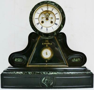 Antique French 8 Day Slate & Marble Striking Mantel Clock Visible Escapement