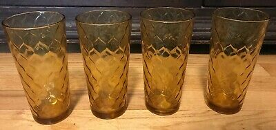 Set Of 4 Vtg Anchor Hocking Honey Gold Amber Diamond Optic Honeycomb Tumblers