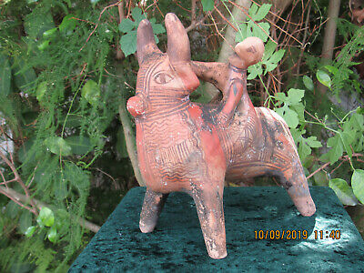 LARGE & RARE Ancient Indus Valley Terracotta ZEBU BULL & Rider Artifact 2600 B.C