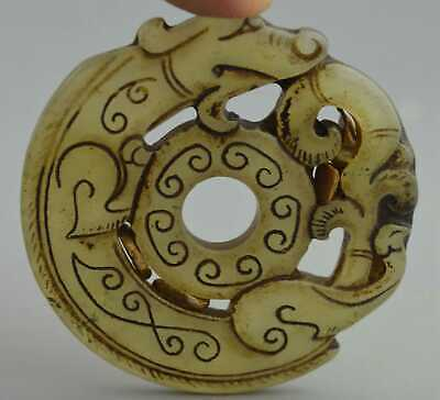 China Collectable Handwork Old Jade Carve Dragon Around Auspicious Tibet Pendant