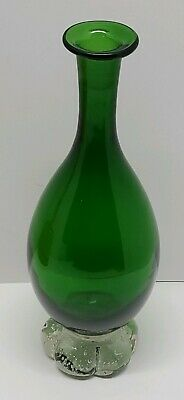 Vtg Bischoff Hand Blown Emerald Green Clear Bubble Art Glass Vase Holiday Decor