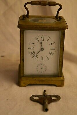 Antique French Brass Carriage Clock Alarm Bevelled Glass Repeater Parts Repair