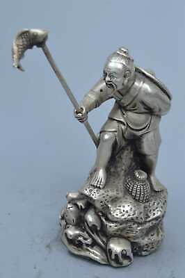 Collectable Handwork Miao Silver Carve Fisherman Go Fish Auspicious Tibet Statue