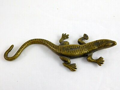 Vintage British Brass Lizard Figurine Solid Metal Signed Decor 5.25 Inches Long