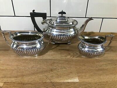 Antique Art Deco Silver Plated Tea Set - Teapot - Sugar Bowl - Milk Jug