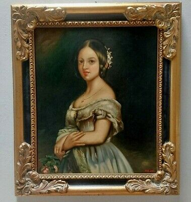 ANTIQUE 19th CENTURY OLD MASTER OIL ITALIAN PAINTING - PORTRAIT OF A LADY - 1890