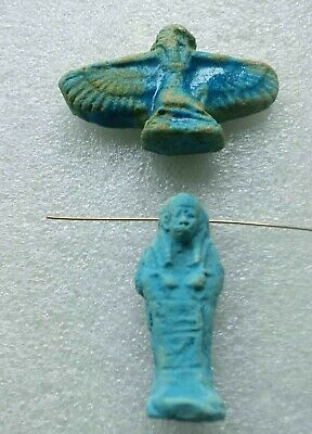 2pc Ancient Blue Egyptian Faience Talisman Amulet Ushabti Pendants
