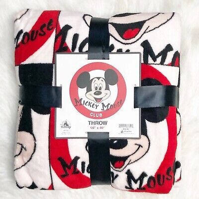 Disney Parks Blanket Mickey Mouse Club Fleece Throw Mouseketeer Black Red New
