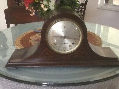 Antique Session Westminster wood mantle clock  with pendulum and keyii