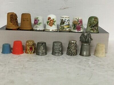 15 Assorted Collectible Thimbles Wood, Metal, Ceramic #2-0435
