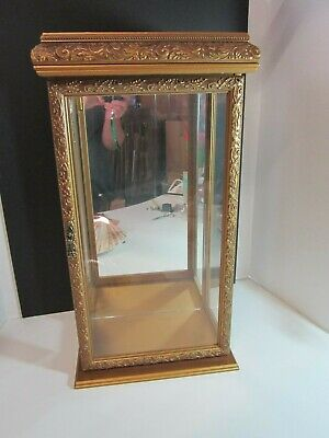 """Gold Wood Glass And Mirror Display Case 21 1/2"""" Tall"""