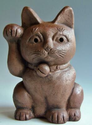 Japanese Old Bizen ware Pottery Lucky cat figurine Right hand antique H 215 mm