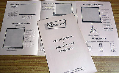 PATHE /PATHESCOPE PROJECTION SCREENS:  Sales Leaflet 1959