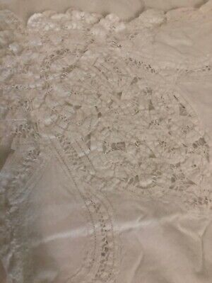 Vintage Cutwork White Tablecloth. Few Stains. Havent Tried To Get Them. 108 X 62