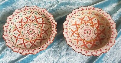 Antique Pair of Chinese Nyonya straits porcelain footed bowls 19th.c. Qing