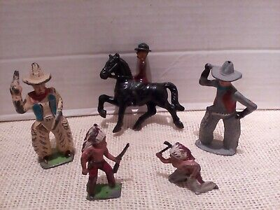 Antique Cast Iron  Toy Cowboys Horse Indians Manoil, Made in England Lot of 5