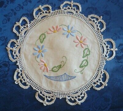 Vintage Hand Embroidered Floral Design Small Round Doiley Cream Crocheted Edge
