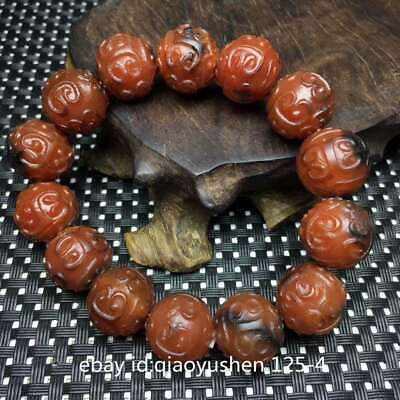 Collect Tibetan Natural Old Agate Ruiyi Round Beads Beautiful Jewelry Bracelet