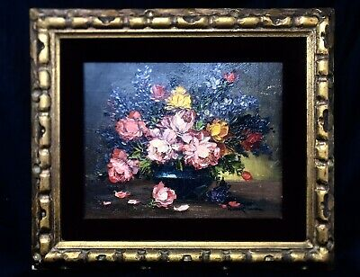Vintage Framed Original Floral Oil Painting by Robert Cox SIGNED Pristine Cond.
