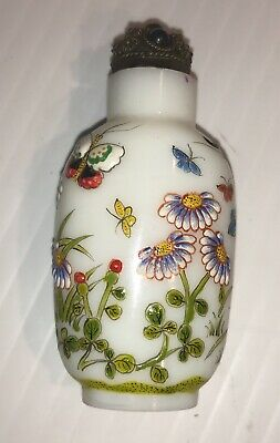 Chinese Flower Butterfly Hand Painted Peking Enamel Glass Snuff Bottle