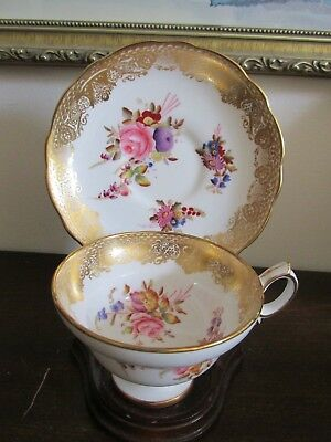 Hammersley & Co England Bone China Tea Cup And Saucer Heavy Gold Flowers Rose #1