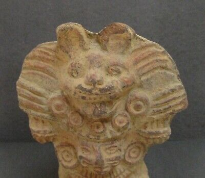 Pre-Columbian Pottery Large Ornate Vase Vessel Figure