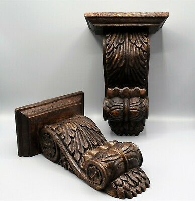 Antique English Carved Solid Walnut Wall Brackets Shelves, Pair