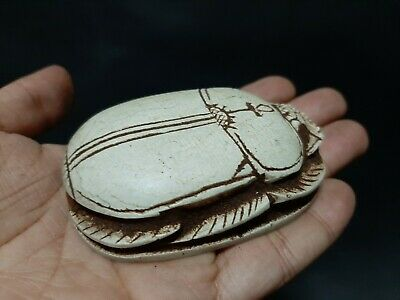 Rare ANCIENT EGYPTIAN ANTIQUES White Scarab Beetle Good Luck Work Life 1300 BC