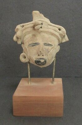 Pre-Columbian Pottery Head Whistle on Stand, Classic Veracruz Bitumen Decoration