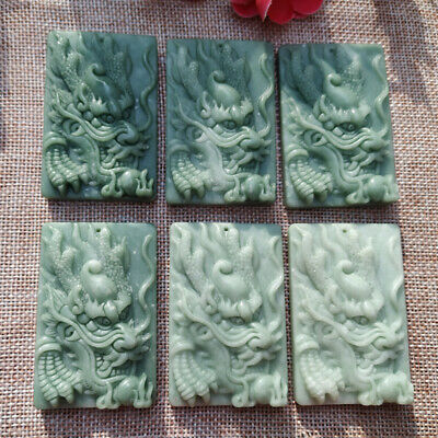 Rare China dragon figure Ancient jade stone Emerald Pendant wired power Antique