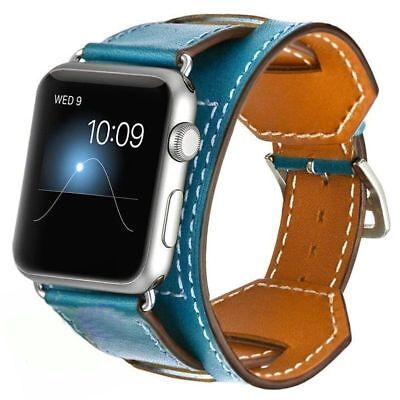 For Apple Watch Band Series 5 4 44mm 40mm Genuine Leather Cuff iWatch Wris Strap