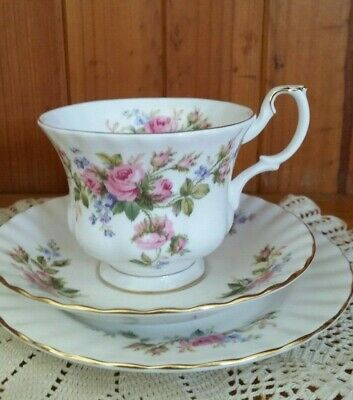 Vintage Royal Albert Trio Moss Rose Shabby Palette Cup Saucer Plate