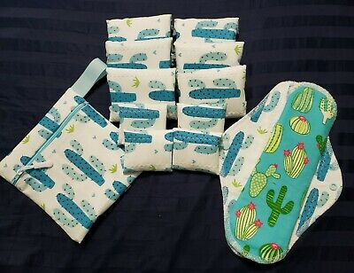 Set/8+4 Reusable Menstrual Pads, & Free WetBag Momma Cloth {Cacti on White}