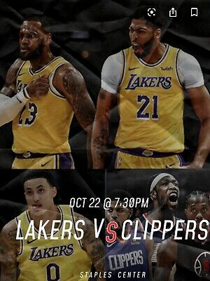 2 Tickets LA Lakers vs LA Clippers Home Opener (10/22) Section 107 Row 17