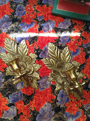 Vintage Solid BRASS Flower Sconces Gold Candle Holder Ornate Fixtures Decor