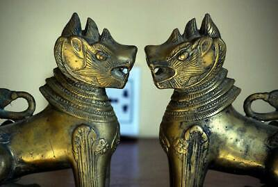 Antique Bronze Lion Statues from Throne in Angkor Wat Cambodia | Museum quality