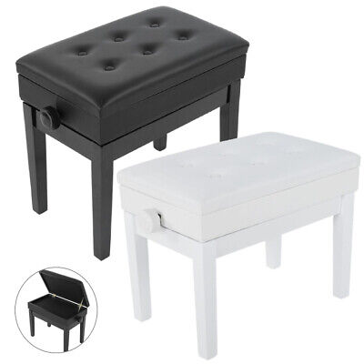 Adjustable Single Person Leather Piano Stool Wood Bench Storage with Padded Seat