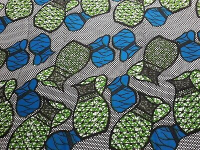 Vintage 100% Cotton African Ethnic Jug Print Fabric Material 3.46 Metres x 105cm