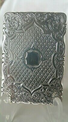 Stunning Antique Sterling Silver Card Case Neill & Cook 1860 Birmingham